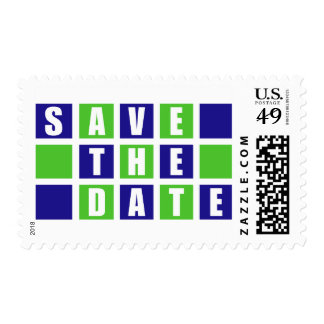Save The Date (Blue / Lime Green Square Boxes) Postage