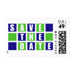 Save The Date (Blue / Lime Green Square Boxes) Postage Stamp
