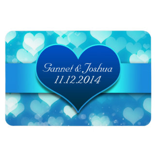 save the date blue love heart modern magnets