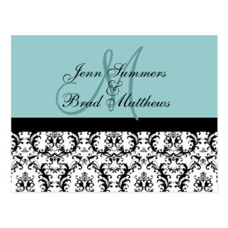 Save the Date Blue Monogram Damask Card