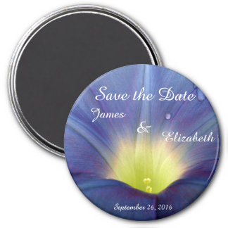 Save the Date Blue Morning Glory Magnet