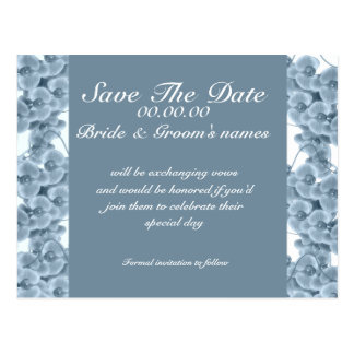 Save the date blue orchid - customizable template postcard