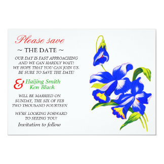 Save The Date Blue Orchid Wedding Flowers Personalized Invite
