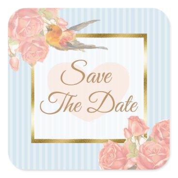 Wedding Themed Save the Date Blue vintage Bird Wedding Sticker
