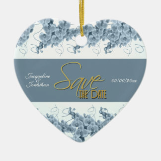 """save the date"" blue white orchid christmas tree ornaments"