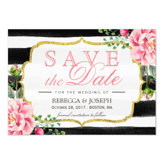 Save the Date Blush Pink Floral Watercolor Stripes Card