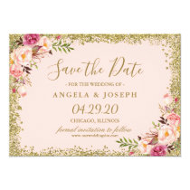 Save the Date Blush Pink Gold Glitters Floral Card