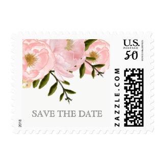 Save the Date. Blush Pink Peonies Wedding Stamps