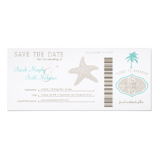 Save the Date Boarding Pass Custom Announcements