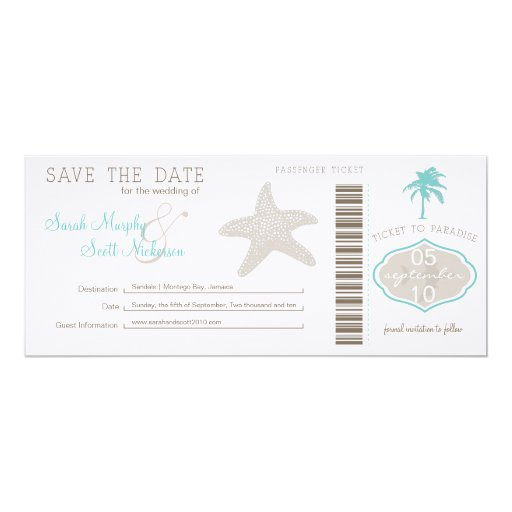 Save the Date Boarding Pass 4x9.25 Paper Invitation Card