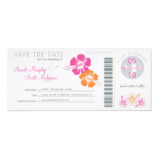 Save the Date Boarding Pass Personalized Announcements