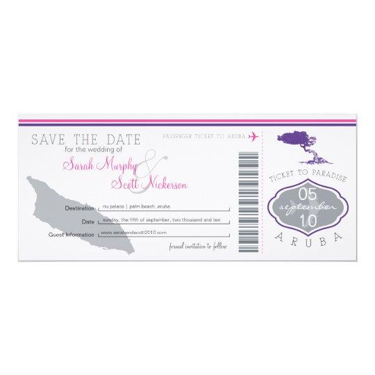 Save the Date Boarding Pass to Aruba Card