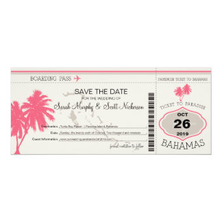 Save the Date Boarding Pass to Bahamas 4x9.25 Paper Invitation Card