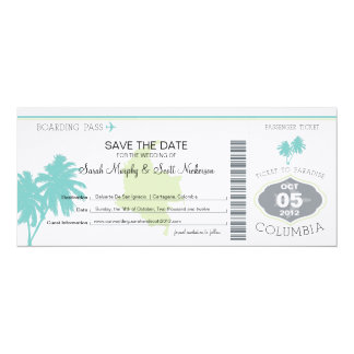 Save the Date Boarding Pass to Columbia 4x9.25 Paper Invitation Card