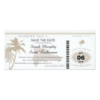 Save the Date Boarding Pass to Dominican Republic Card