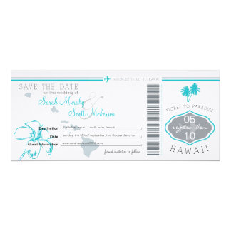 Save the Date Boarding Pass to Hawaii Personalized Invitation
