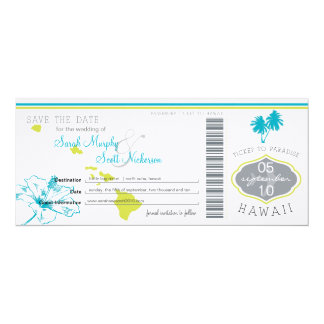 Save the Date Boarding Pass to Hawaii Personalized Invitations
