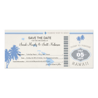 Save the Date Boarding Pass to Hawaii Announcements