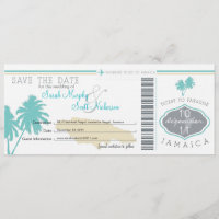 Save the Date Boarding Pass to Jamaica