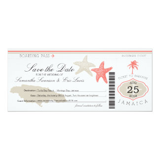 Save the Date Boarding Pass to Jamaica Card