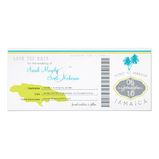 Save the Date Boarding Pass to Jamaica Custom Invitations
