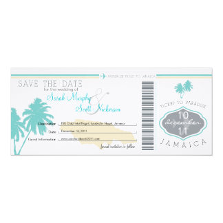 Save the Date Boarding Pass to Jamaica 4x9.25 Paper Invitation Card