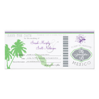 Save the Date Boarding Pass to Mexico Custom Announcements