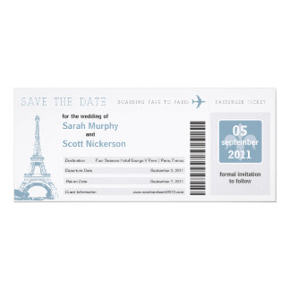 Save the Date Boarding Pass to Paris France 4x9.25 Paper Invitation Card