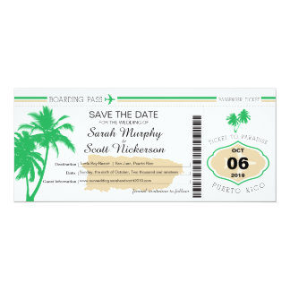 Save the Date Boarding Pass to Puerto Rico Card