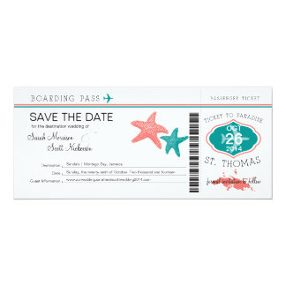 Save the Date Boarding Pass to St. Thomas 4x9.25 Paper Invitation Card