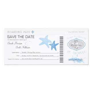 Save the Date Boarding Pass to St. Thomas Custom Invite