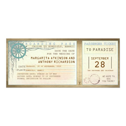 save the date boarding pass-vintage tickets Personalized Announcements