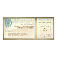 save the date boarding pass-vintage tickets 4x9.25 paper invitation card (<em>$2.57</em>)