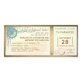 "save the date boarding pass-vintage tickets 4"" x 9.25"" invitation card"