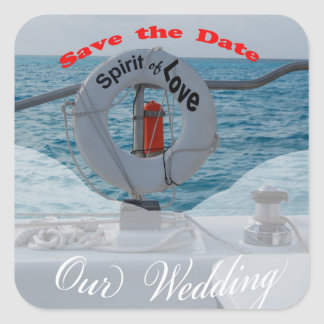 Save the Date Boat Wedding Square Sticker