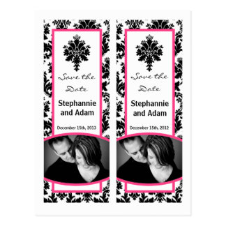 Save the Date Book Mark Favors Black Hot Pink Dama Postcard