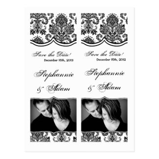 Save the Date Book Mark Favors Black White Damask Postcard