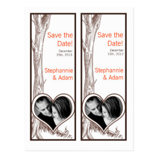 Save the Date Book Mark Favors Fall Tree Initial Postcard