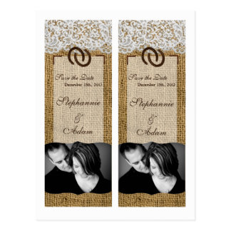Save the Date Book Mark Favors Horse Shoes Burlap Postcard