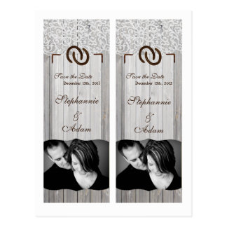 Save the Date Book Mark Favors Horse Shoes Wood Postcard