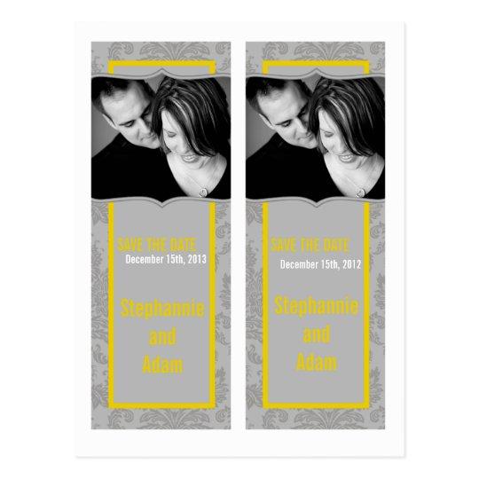 Save the Date Book Mark Favors Modern Gray Damask Postcard