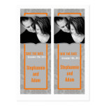 Save the Date Book Mark Favors Modern Gray Damask Post Card