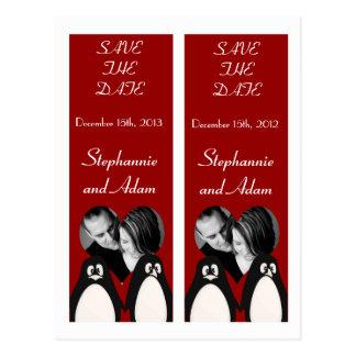 Save the Date Book Mark Favors Penguin Love Couple Postcard