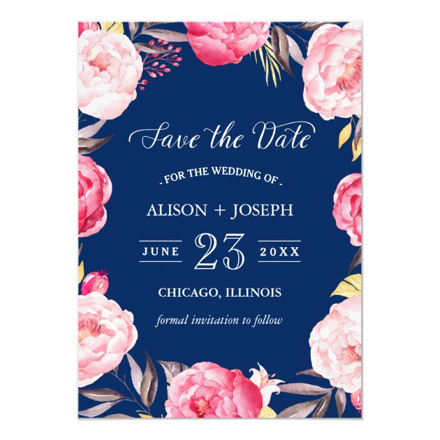 Save the Date   Botanical Floral Wreath Navy Blue Card