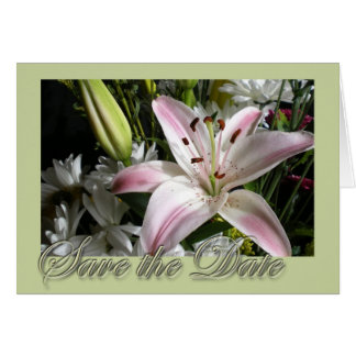 Save the Date Bouquet of Lilies Edwardian font Card