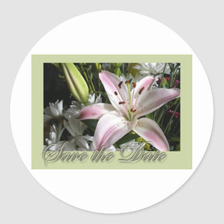 Save the Date Bouquet of Lilies Edwardian font Classic Round Sticker
