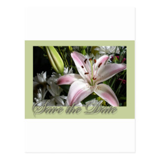 Save the Date Bouquet of Lilies Edwardian font Postcard