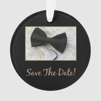 Save the Date Bow tie on dress Ornament