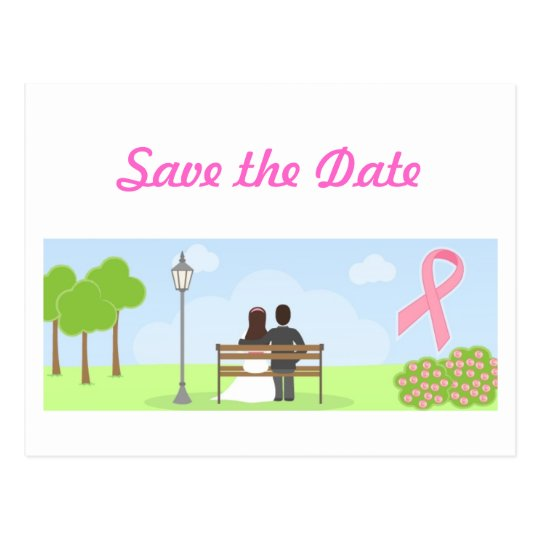 Save the Date Breast Cancer Wedding Postcard