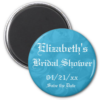 """""""Save the Date"""" Bridal Shower-Bright Blue Roses Magnet"""